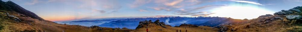 panoramic view surrounding the summit